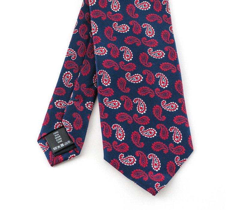 Rode paisley zijden stropdas