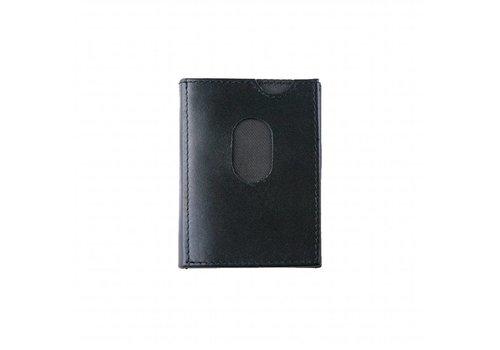 Zwarte leren mini portemonnee
