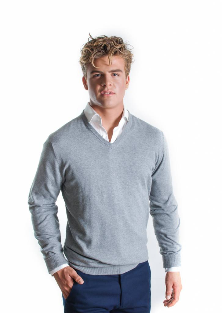 Trui Met Overhemd Heren.Grijze V Hals Trui Mr Olin Mr Olin