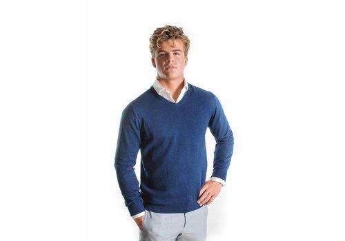 Blauwe v-hals trui