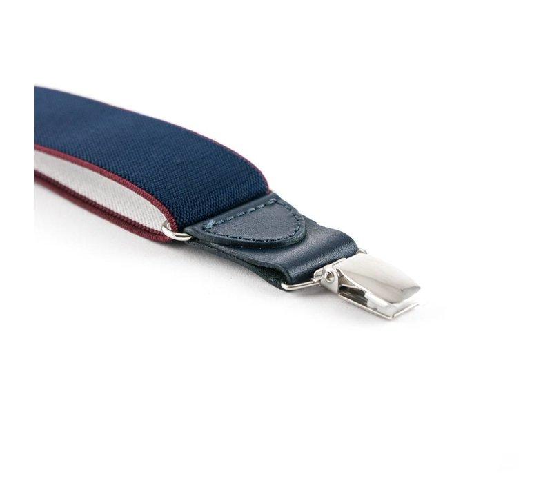 Blauwe bretels met een met een rood randje