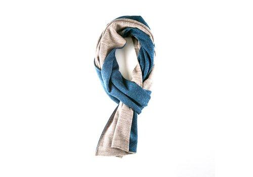 Sjaal beige blauw