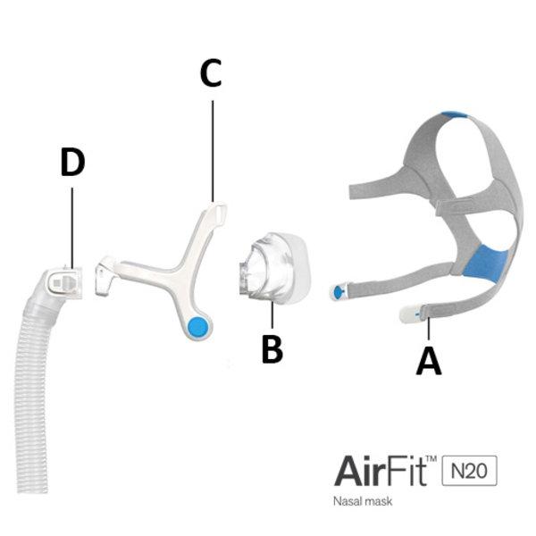 ResMed  AirFit N20 - Coude et tuyau