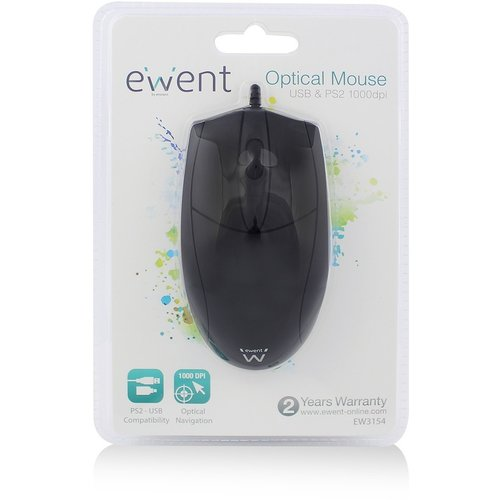 Ewent PS/2 en USB Optische Muis - Zwart