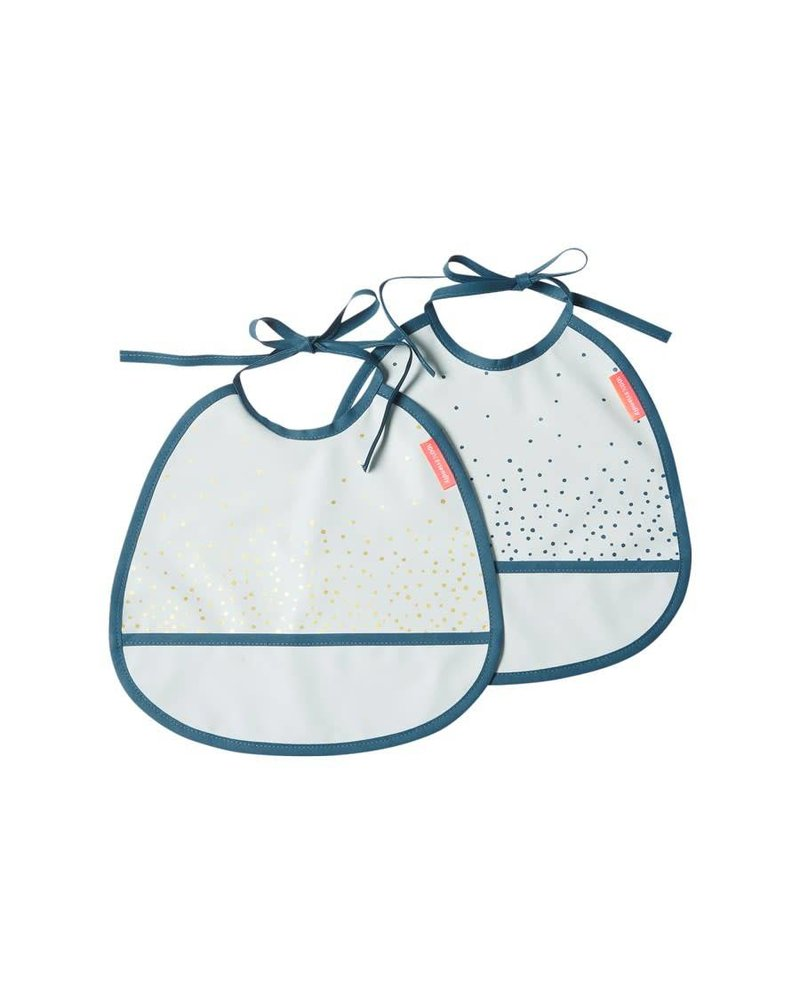 Done by Deer Tiny bib, 2-pack, Happy dots, blue