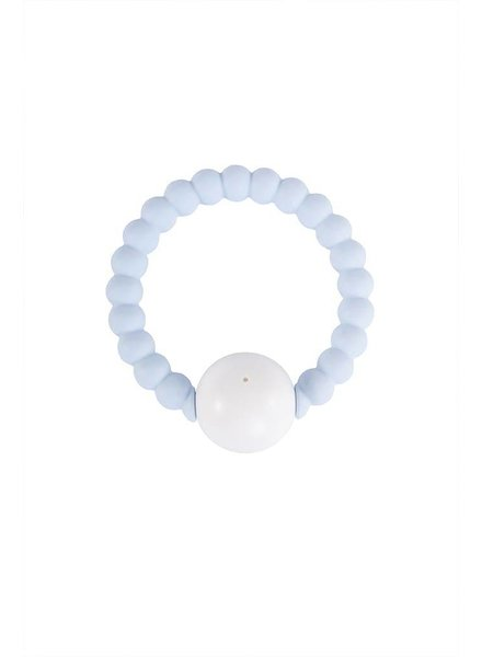 Nibbling Rattle ring - soft blue/white
