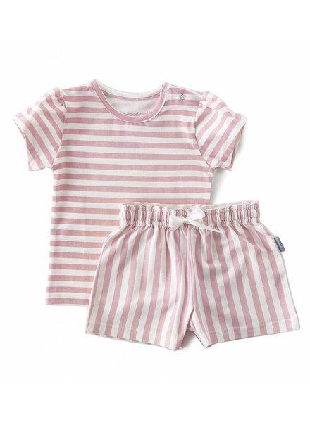 Little Label jersey summer pyjama-set girls  -  big pink stripes