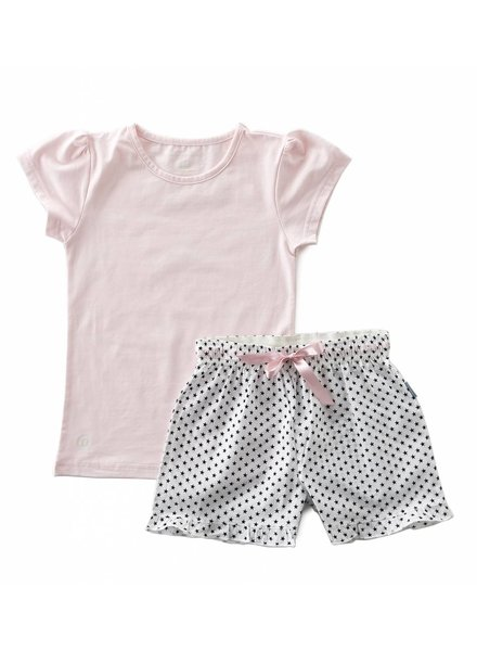 Little Label pyjamas-set with fancy shorts and shirt girls  -  black stars