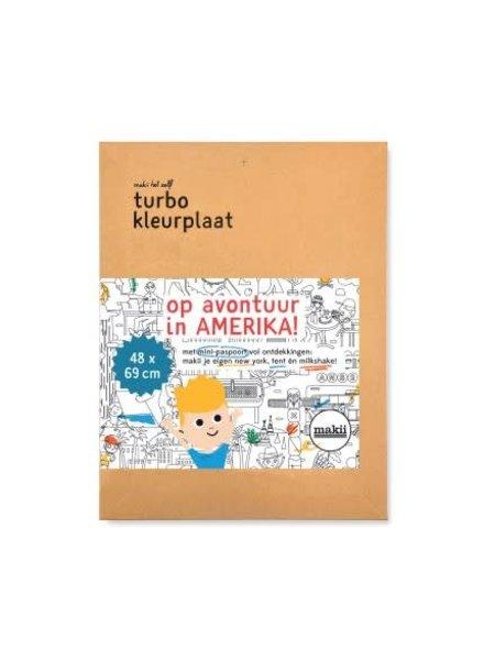 Makii Turbo kleurplaat AMERIKA