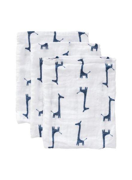 Fresk Set van 3 tetrawashandjes - Giraf indigo blue