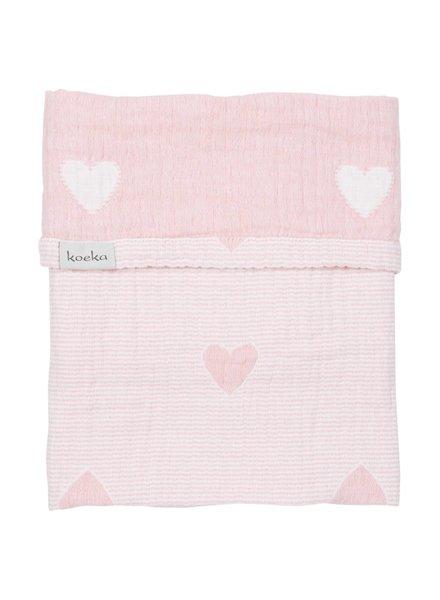 Koeka Deken wieg Altea Hearts - Water pink