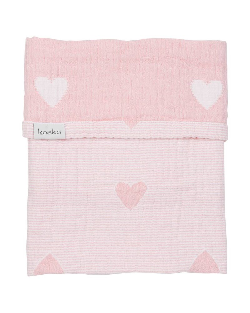 Koeka Deken wieg Altea Hearts - Blush pink