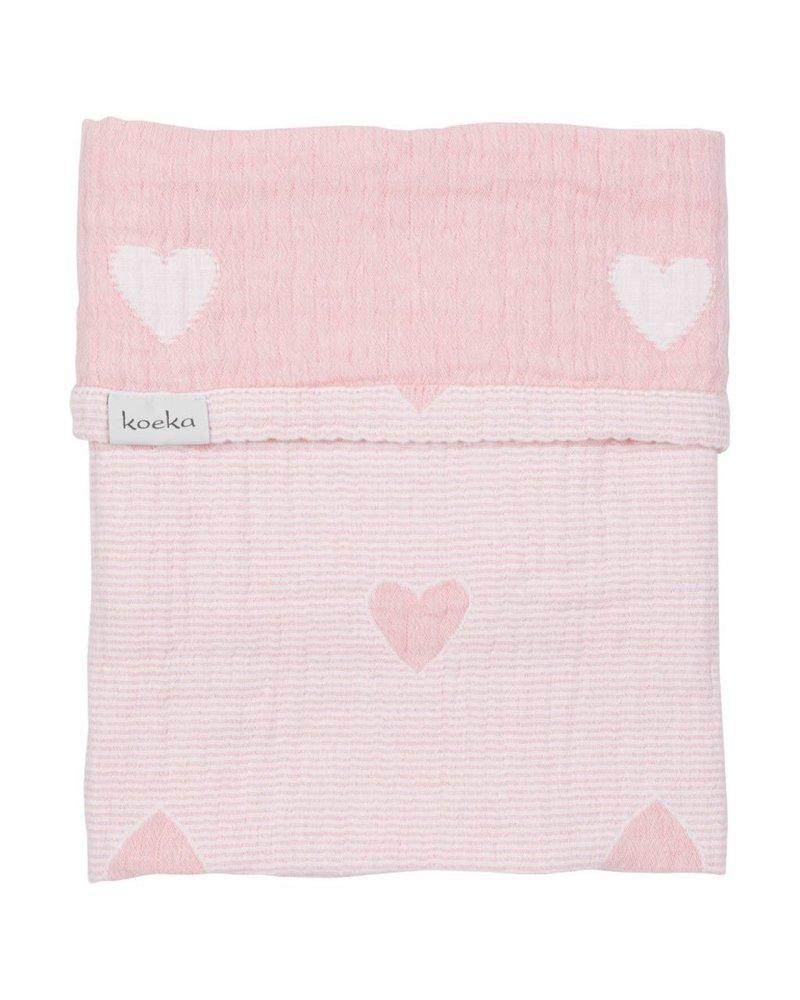 Koeka Deken ledikant Altea Hearts - Blush pink