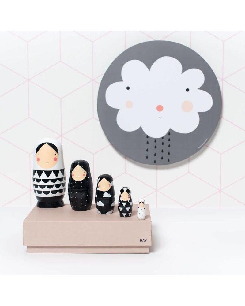 Petit Monkey Nesting dolls - black & white
