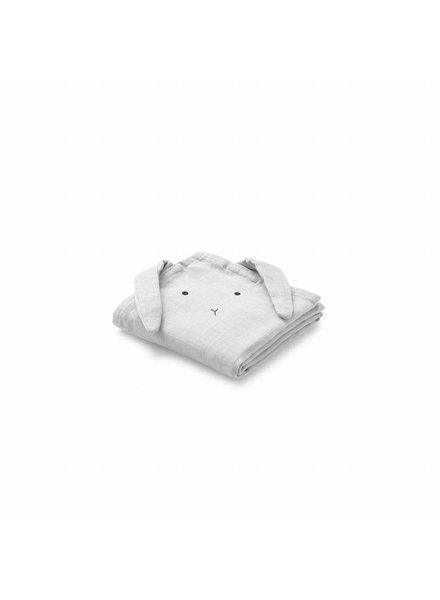 Liewood Hannah Muslin Cloth 2 Pack Rabbit - Dumbo Grey  (70 x 70)