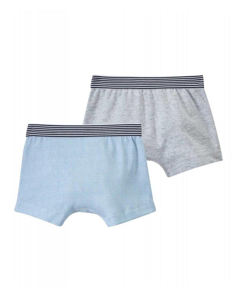 Petit Bateau Set van 2 boxershorts - blauw/grijs