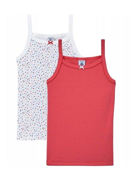 Petit Bateau Set van 2 onderhemdjes - red/dots