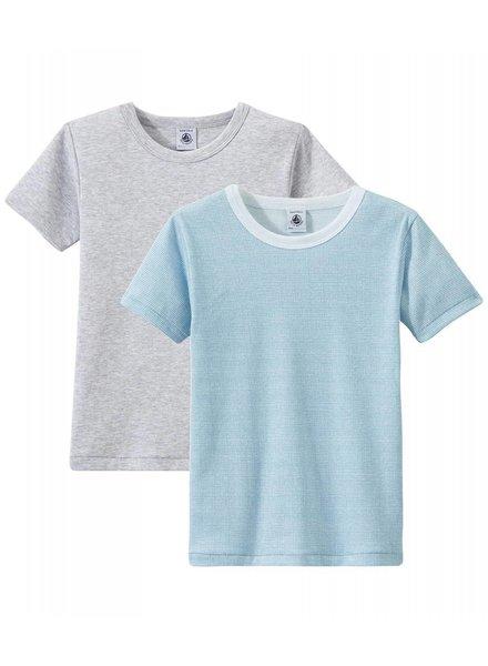 Petit Bateau Set van 2 onderhemdjes korte mouw - blauw/grijs