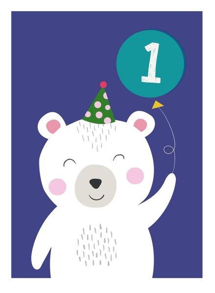 Rexinter Polar Bear 1st Birthday Card