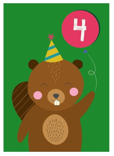 Rexinter Beaver 4th Birthday Card