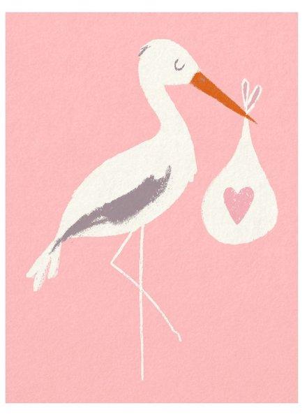 Rexinter Pink Baby Bundle Stork Card