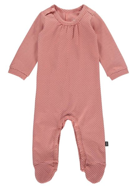 Imps & Elfs Overall Long Sleeve with feet - Dusty Pink light blue dots