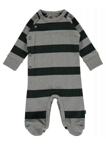 Imps & Elfs Overall Long Sleeve with feet - Forest Green stripe combo