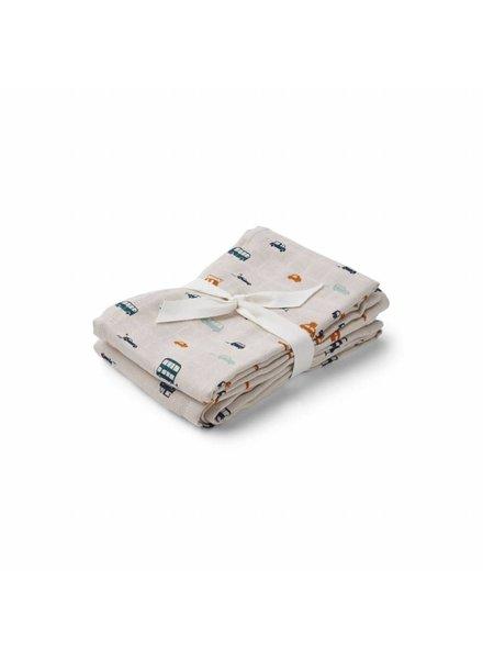 Liewood Hannah muslin cloth 2 pack - Cars - 70x70