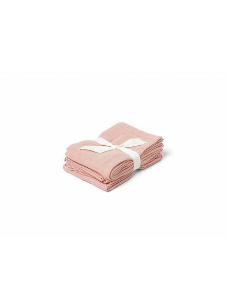 Liewood Hannah muslin cloth 2 pack -Solid-Coral pink (70 x 70)