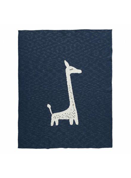 Fresk Gebreide deken 80 x 100 cm - Giraf indigo