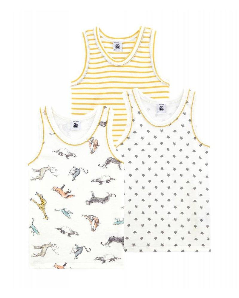 Petit Bateau Set van 3 onderhemdjes - dieren