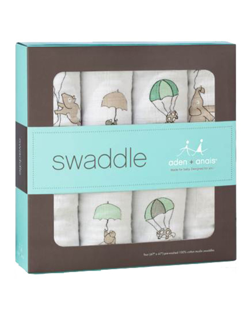 aden and anais 4-PACK SWADDLING WRAPS - up, up & away