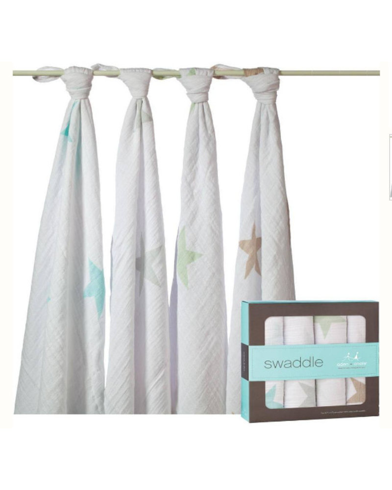 aden and anais 4-PACK SWADDLING WRAPS - super star - scout
