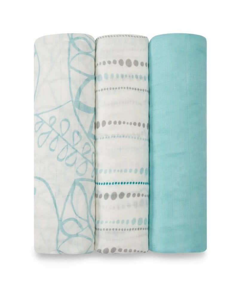 aden and anais 3-PACK BAMBOO SWADDLING WRAPS - azure