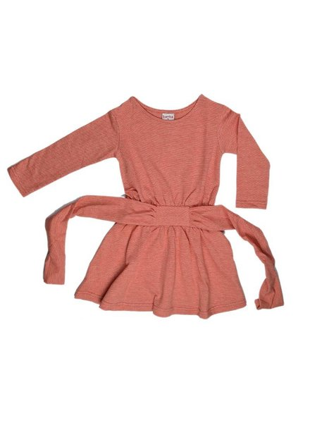 Baba Babywear Tie dress long sleeves - Jacquard red