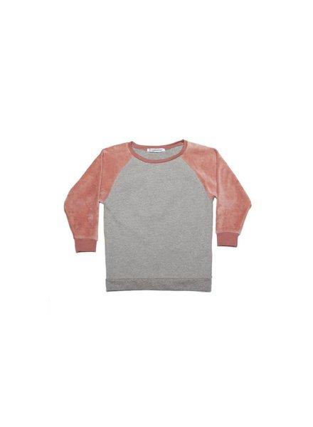 Mingo Velvet sweater - Grey melange/raspberry