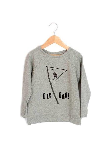 Lötiekids Sweatshirt - Fly far - Grey Melange - maat 104/110 & 116/122