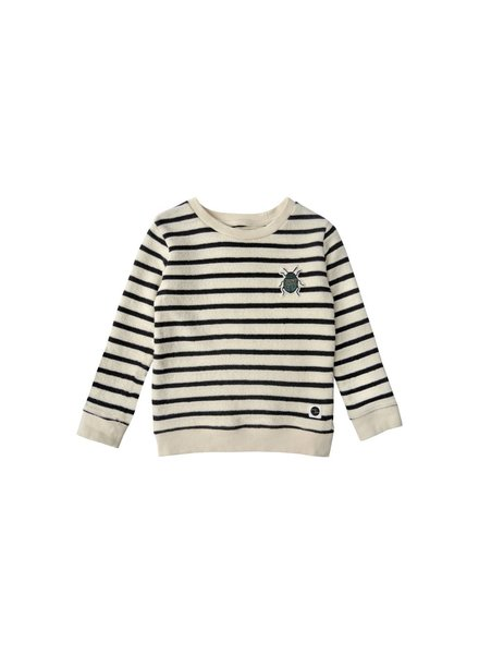 Sproet & Sprout Sweater beetle badge mild & black stripe