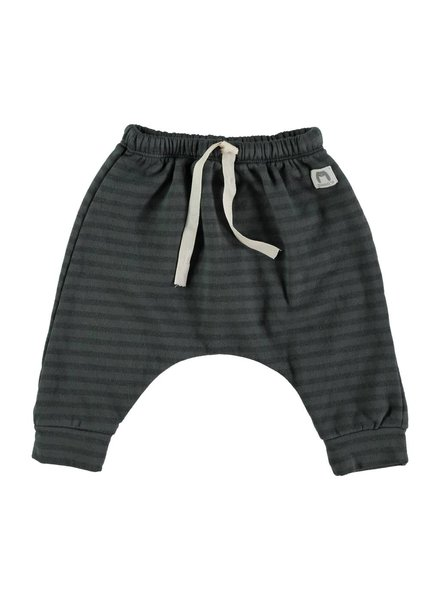 Beans Montana - Organic cotton striped pants - Anthracite