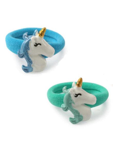 Set van 2 haarrekkertjes unicorn - blauw & groen