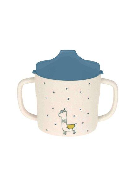 Lässig Sippy cup bamboo - glama lama blue