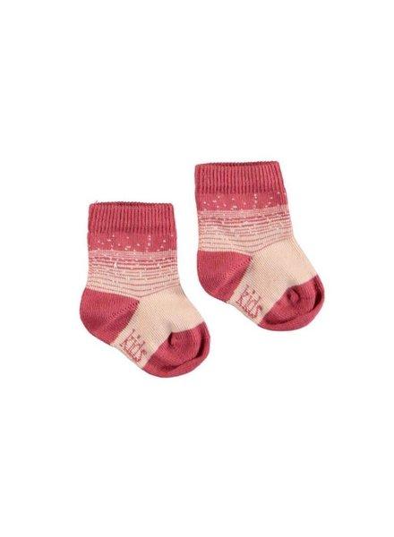 Kidscase NB organic winter socks rose - Maat 74/80