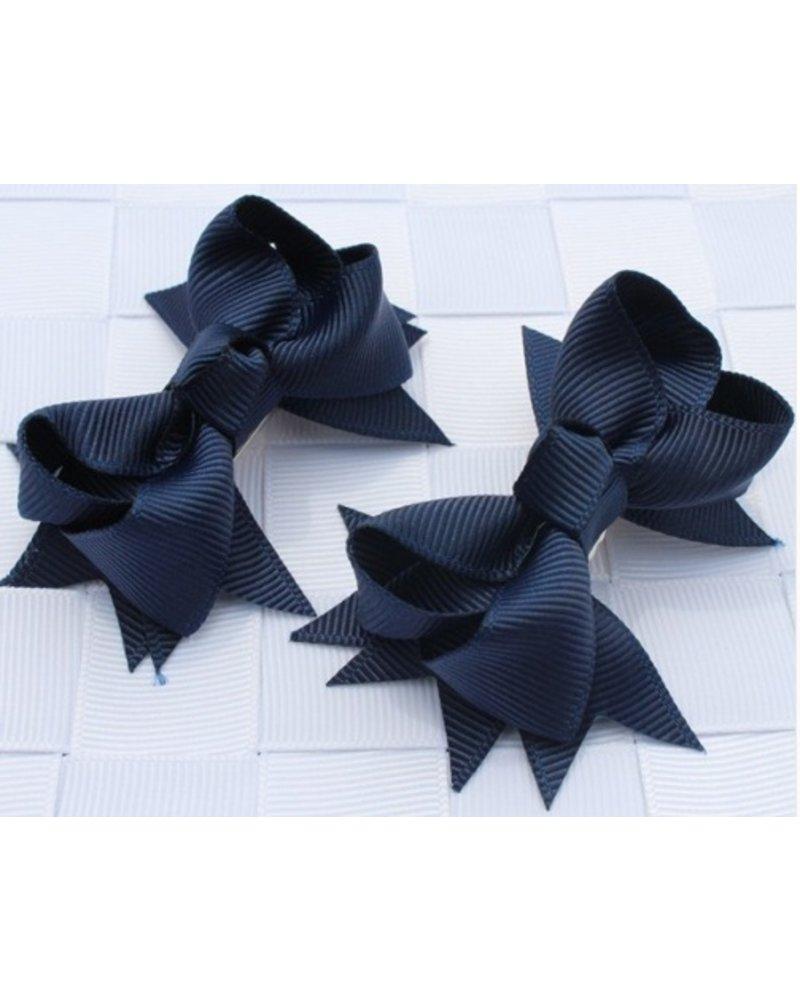 Haarspeld donker blauw strikje - 2 stuks