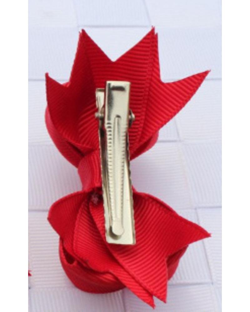 Haarspeld roos strikje - 2 stuks