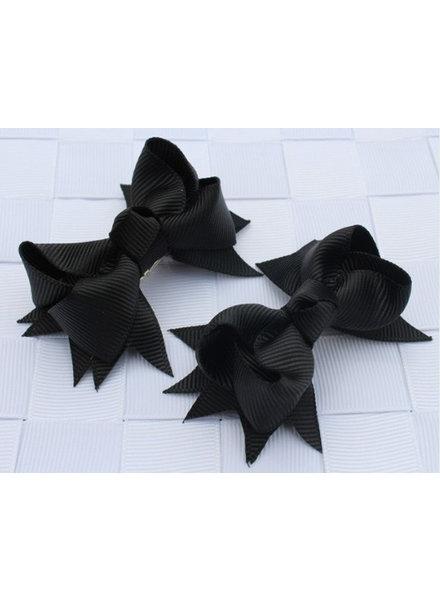 Haarspeld zwart strikje - 2 stuks
