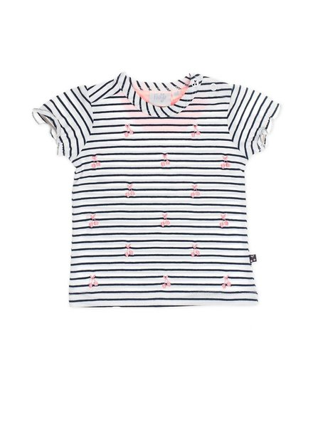 Feetje T-shirt k/m streep/AOP Cherry sweet