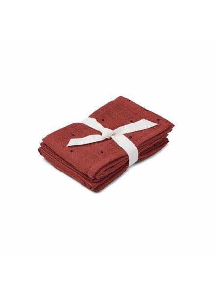 Liewood Hannah muslin cloth print 2 pack - Classic dot rusty