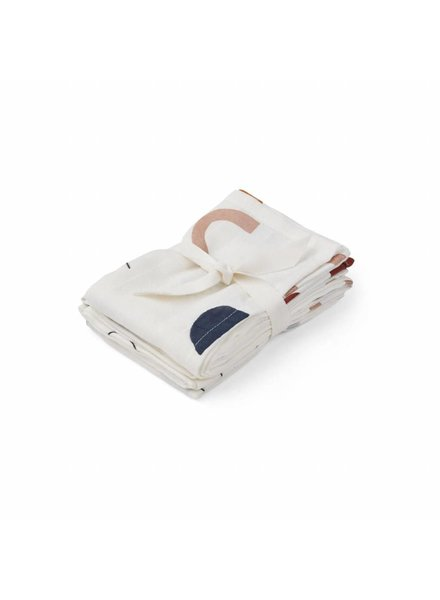 Liewood Hannah muslin cloth print 2 pack - Abstract off white