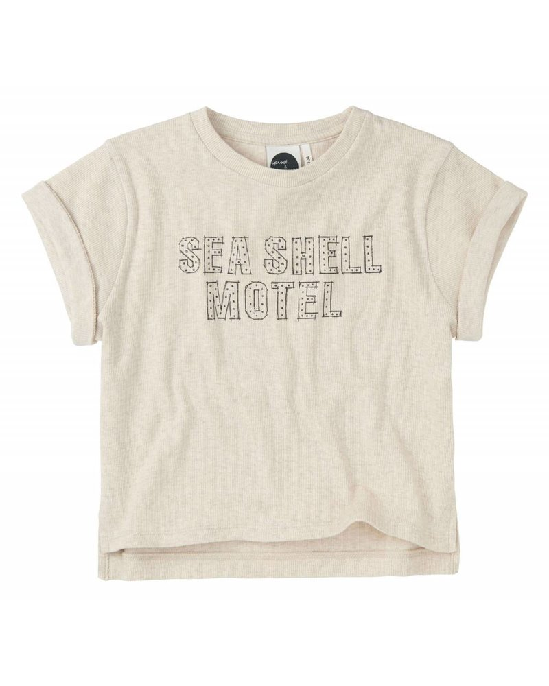 Sproet & Sprout Boxy T-shirt 'Seashell Motel'  shell melee