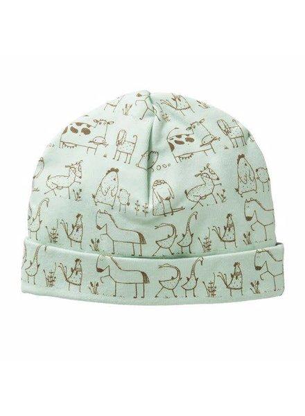 Cottonbaby Babymuts dierenprint groen - Maat S